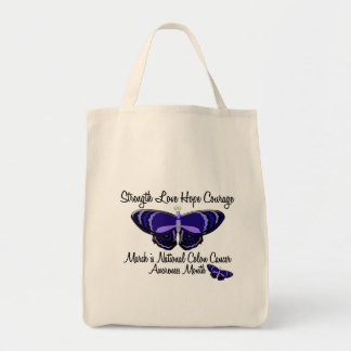 Colon Cancer Awareness Month Butterfly 1.2 Tote Bags