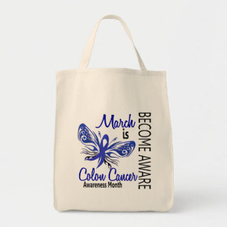 Colon Cancer Awareness Month Butterfly 3.1 Canvas Bags