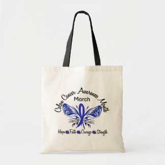Colon Cancer Awareness Month Butterfly 3.2 Budget Tote Bag