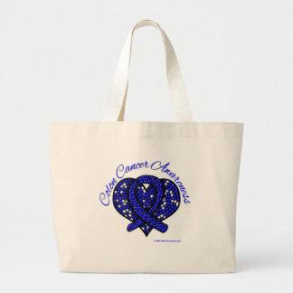 Colon Cancer Awareness Mosaic Ribbon Tote Bags