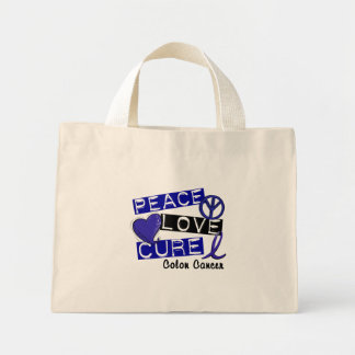 Colon Cancer Awareness PEACE LOVE CURE 1 Canvas Bags