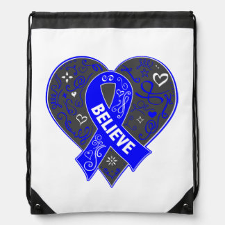 Colon Cancer Believe Ribbon Heart Backpacks