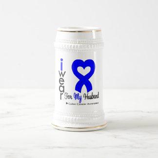 Colon Cancer Blue Heart Ribbon For My Husband Coffee Mug