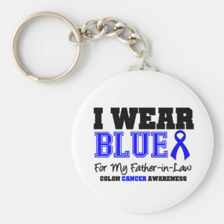 Colon Cancer Blue Ribbon Father-in-Law (Sporty) Keychains