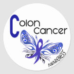 Colon Cancer BUTTERFLY 3 Round Sticker
