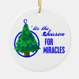 Colon Cancer Christmas Miracles Round Ceramic Decoration