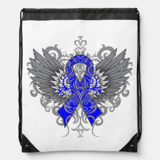 Colon Cancer Cool Awareness Wings Drawstring Bags