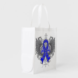 Colon Cancer Cool Awareness Wings Grocery Bags