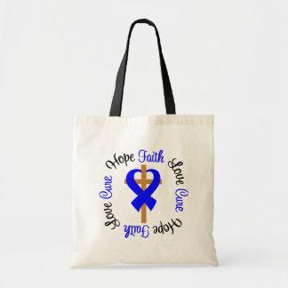 Colon Cancer Faith Hope Love Cross Budget Tote Bag