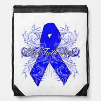 Colon Cancer Flourish Hope Faith Cure Drawstring Backpacks