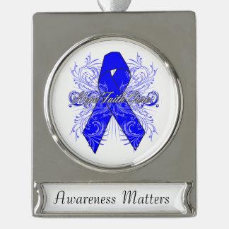 Colon Cancer Flourish Hope Faith Cure Silver Plated Banner Ornament