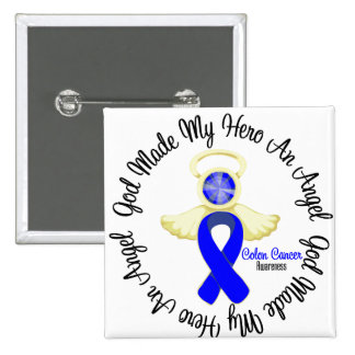 Colon Cancer God Made My Hero An Angel 15 Cm Square Badge