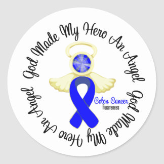 Colon Cancer God Made My Hero An Angel Round Sticker