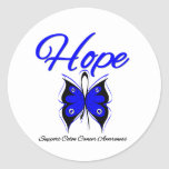 Colon Cancer Hope Butterfly Ribbon Round Sticker