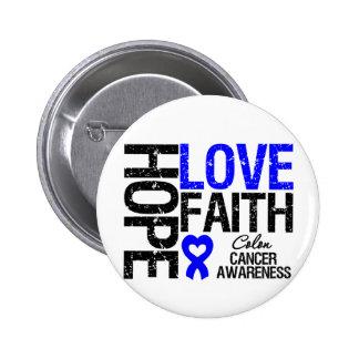 Colon Cancer Hope Love Faith 6 Cm Round Badge