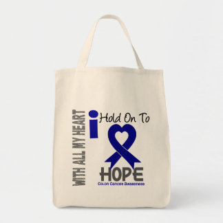 Colon Cancer I Hold On To Hope Grocery Tote Bag