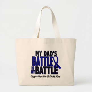 Colon Cancer MY BATTLE TOO 1 Dad Jumbo Tote Bag