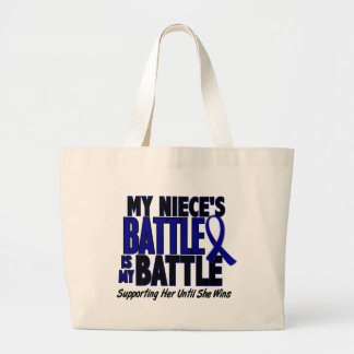 Colon Cancer MY BATTLE TOO 1 Niece Tote Bags