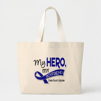 Colon Cancer MY HERO MY BOYFRIEND 42 Jumbo Tote Bag