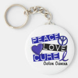 Colon Cancer PEACE LOVE CURE 1 Basic Round Button Key Ring