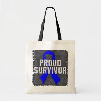 Colon Cancer Proud Survivor Canvas Bags