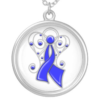 Colon Cancer Ribbon Angel In Memory Round Pendant Necklace