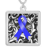 Colon Cancer Ribbon Deco Floral Noir