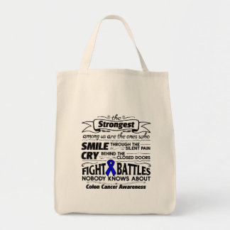 Colon Cancer Strongest Among Us Grocery Tote Bag
