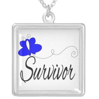 Colon Cancer Survivor Butterfly Ribbon Necklace