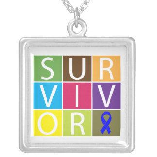 Colon Cancer Survivor Colorful Tiles Square Pendant Necklace