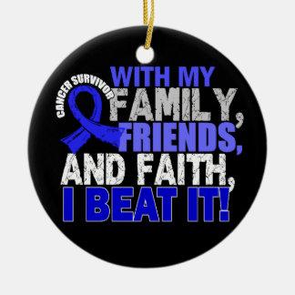 Colon Cancer Survivor Family Friends Faith Round Ceramic Decoration