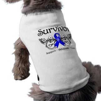Colon Cancer Survivor Floral Deco Sleeveless Dog Shirt