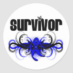 Colon Cancer Survivor Grunge Winged Emblem Round Sticker