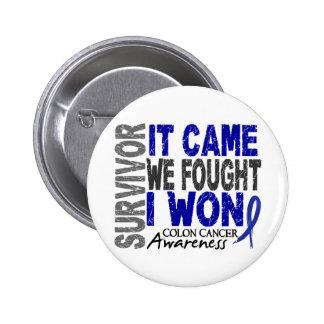 Colon Cancer Survivor It Came We Fought I Won 6 Cm Round Badge