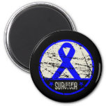 Colon Cancer Survivor Mens Vintage 6 Cm Round Magnet