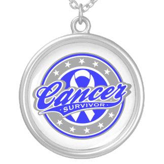 Colon Cancer Survivor Sporty Swash Round Pendant Necklace