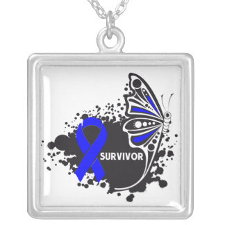 Colon Cancer Survivor Tattoo Butterfly Square Pendant Necklace