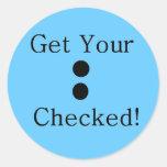 Colon Check Round Sticker