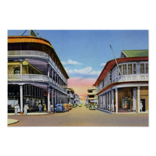 Colon Panama Front Street Poster