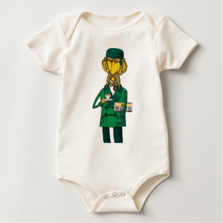 Colonel with tea and newspaper baby bodysuit