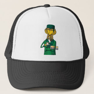 Colonel with tea and newspaper trucker hat