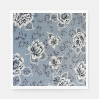 Colonial Blue and Black Flower | Paper Napkins