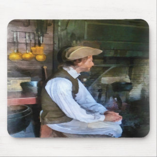 Colonial Man in Kitchen Mousepads