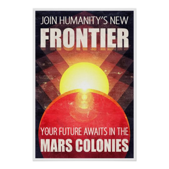Colonisation of Mars Retro Sci-Fi Illustration Poster