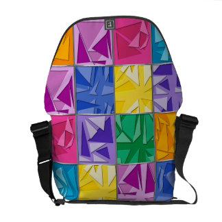 Color 3d cubism messenger bag