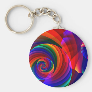 Color 7 Cool Modern Abstract Fractal Art Basic Round Button Key Ring