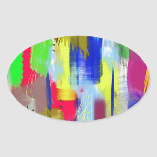 color abstract (36) oval sticker