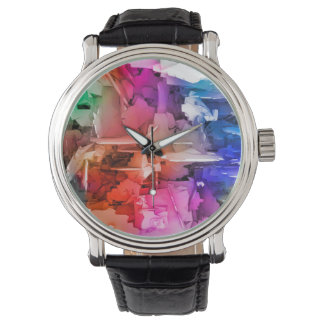 Color Abstract Art Fragments Wrist Watch