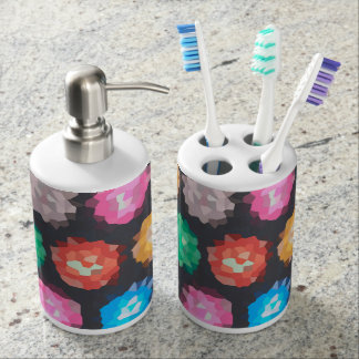 Color Abstract Background Soap Dispenser And Toothbrush Holder