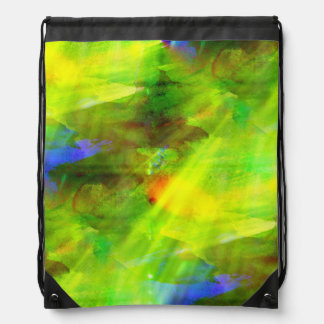 color abstract seamless background green, yellow drawstring bag